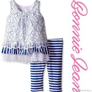 Bonnie Jean Lace Ruffle Tiered Tunic Legging Set